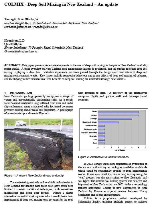 Colmix Deep Soil Mixing in New Zealand – An update